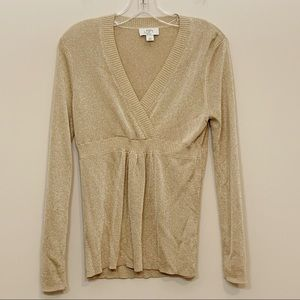 Ann Taylor Loft Sweater Gold Metallic Size MP
